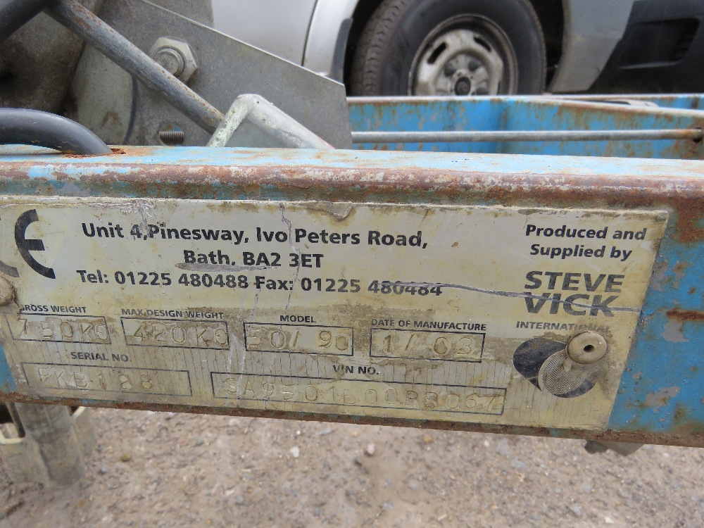 Lot 57 - BLUE STEVE VICK SINGLE AXLE COILED PIPE TRAILER