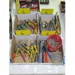 LOT ASST. TIN SNIPS, RIVET PUNCHES, DOME PRESS, STAPLERS, ETC. (4 BOXES)