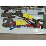 """LOT ASST. RIDGID 21"""", FULLER 14"""" PIPE WRENCHES, GREENLEE CABLE CUTTER, ETC."""