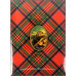 Tartan ware - a pair of book or small blotter covers (Stuart), the front cover with a hand painted