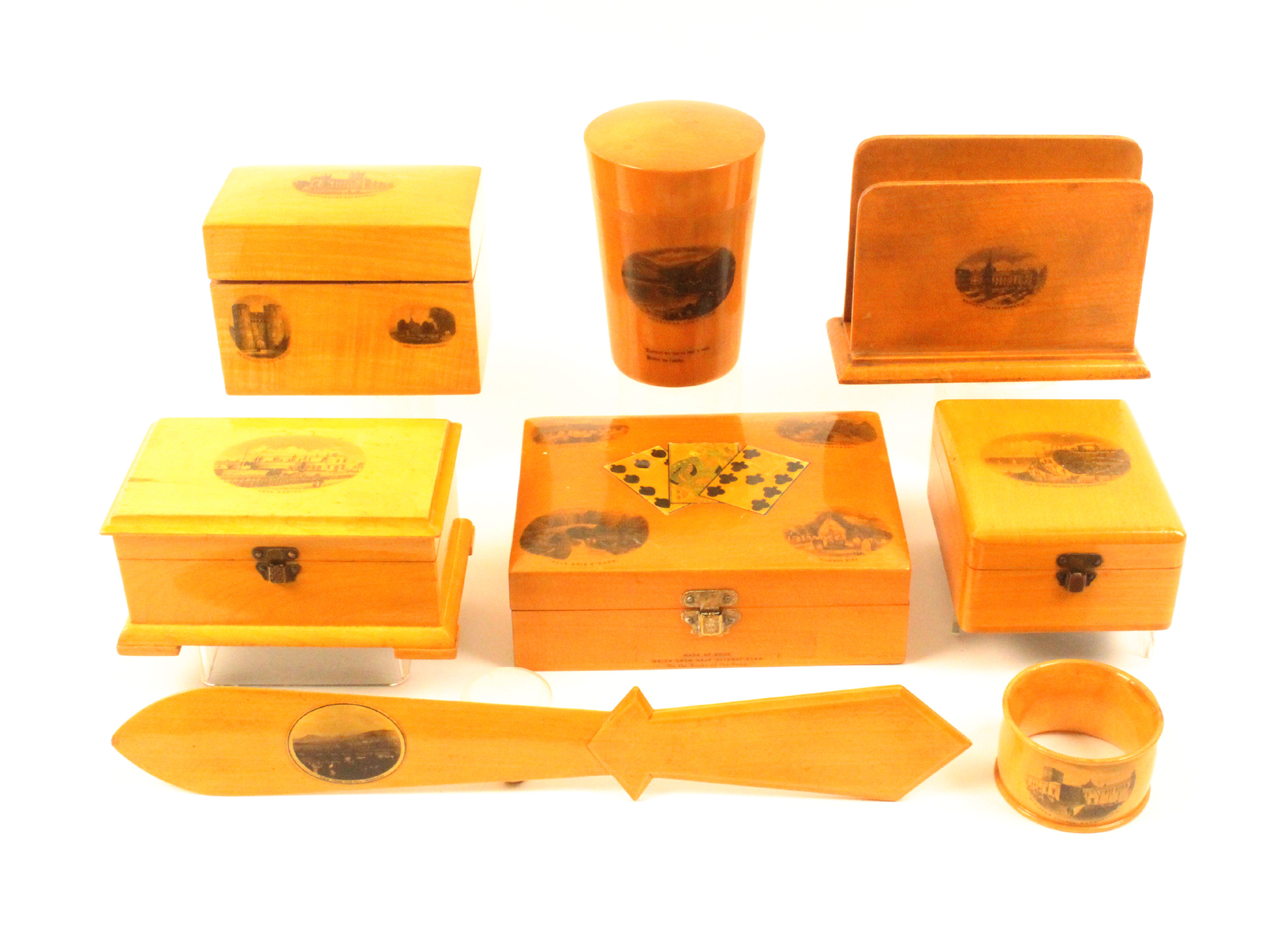 Mauchline ware - eight pieces comprising a tumbler case with Fern etched glass (Arrochar, Loch