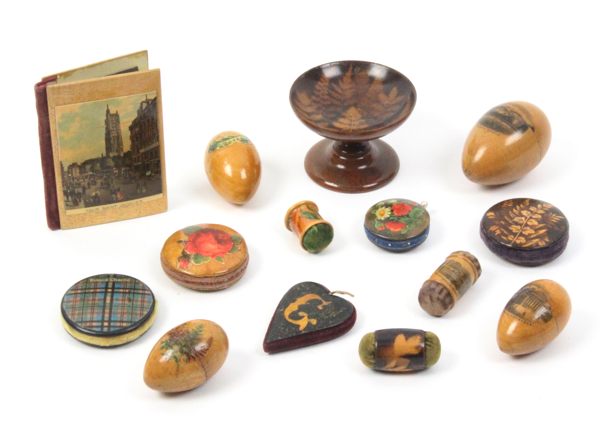 Mauchline and related wares - sewing - fourteen pieces - comprising a fern ware pedestal pin dish,