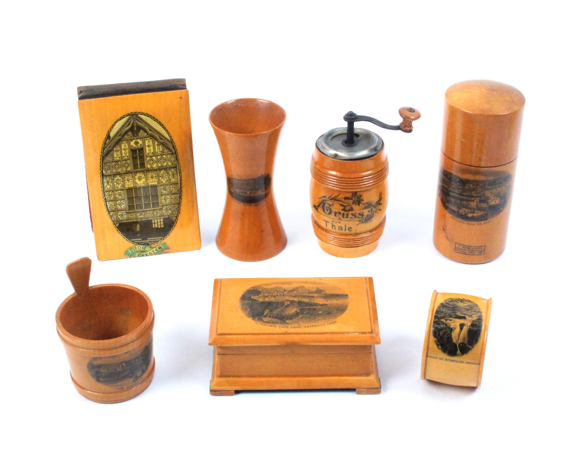 Mauchline ware - seven pieces - comprising a salt tub (Low Harrogate), 7cm, a waisted cylinder