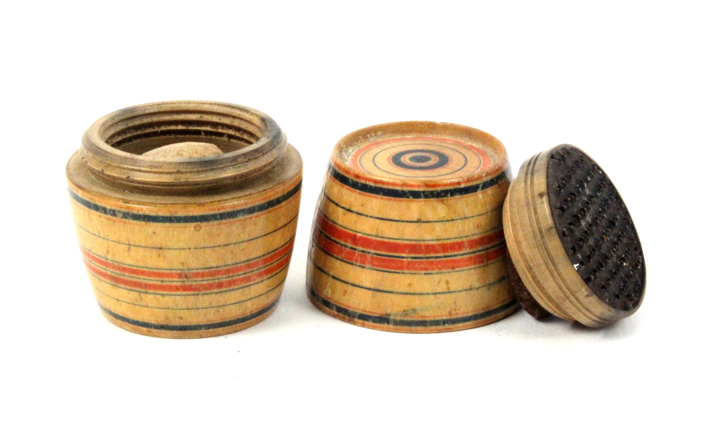 A rare painted whitewood Tunbridge ware nutmeg grater of barrel form with coloured line painted