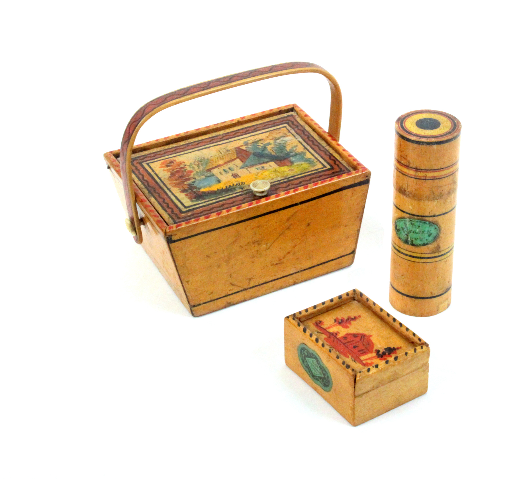 Lot 10 - Three pieces of painted whitewood Tunbridge ware comprising a small basket form box the pin hinge