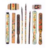 Mauchline ware - ten pieces all in floral patterns comprising three dip pens, three paper knives,