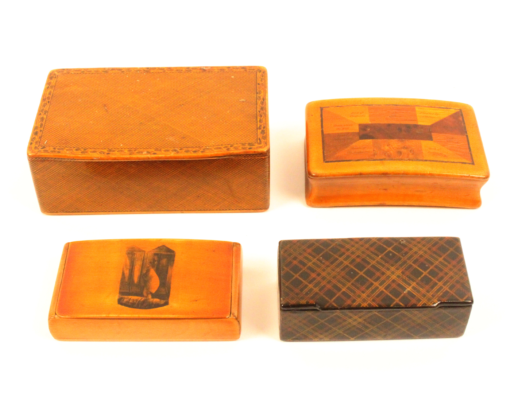 Three Scottish snuff boxes and another, comprising a large example, full wooden hinge decorated in