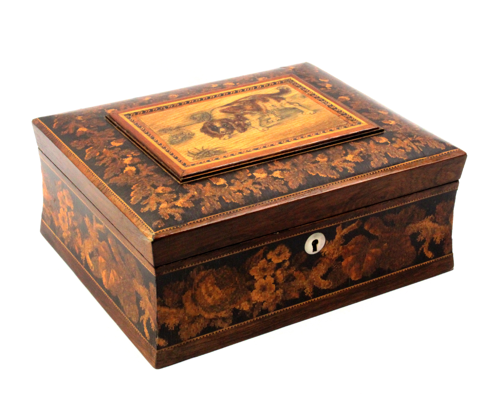 A Tunbridge ware sewing box adapted, the concave sides with a broad band of floral mosaic, the