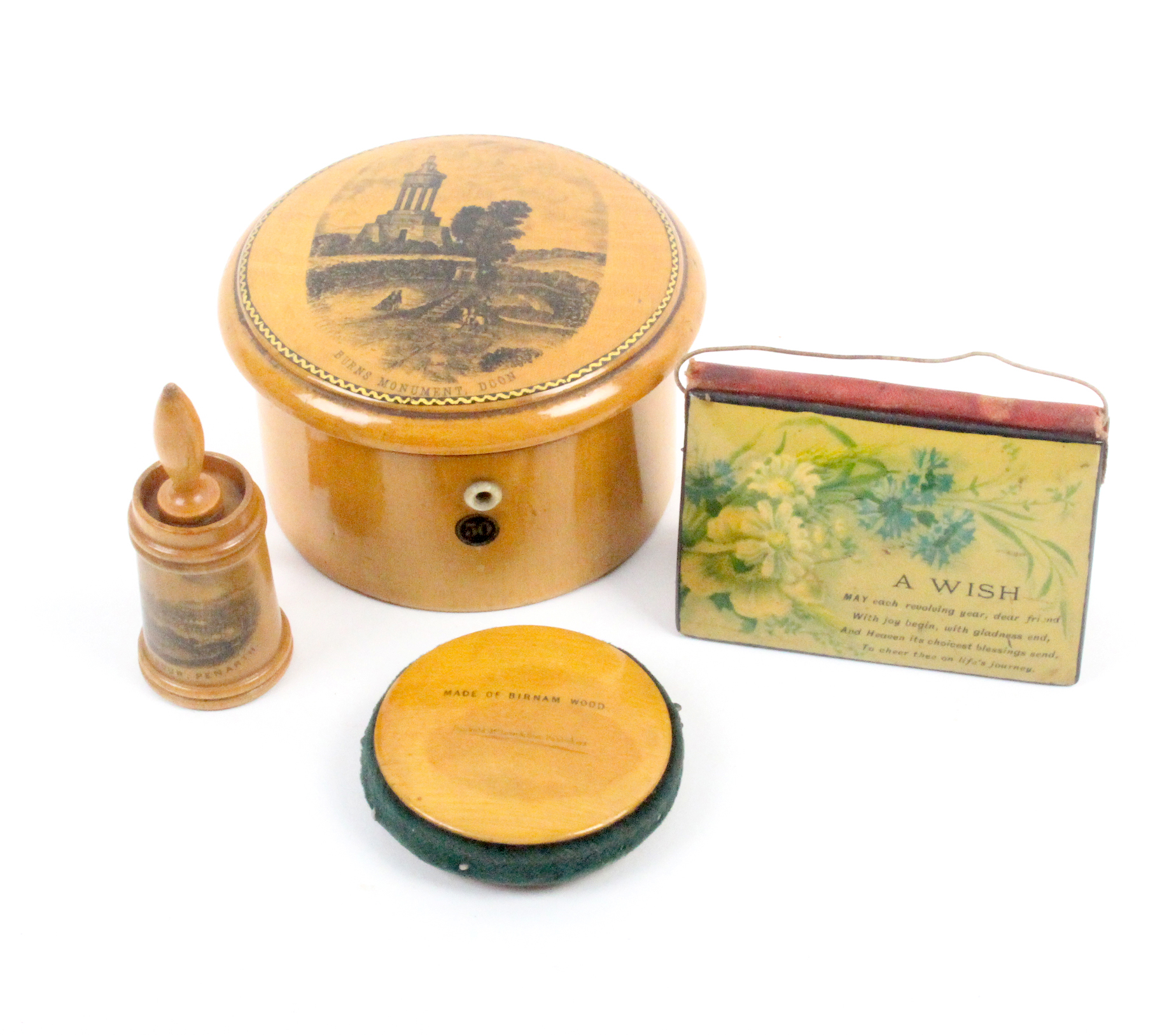 Mauchline ware - sewing - four pieces comprising a dome top circular reel box (Burns Monument, Doon)