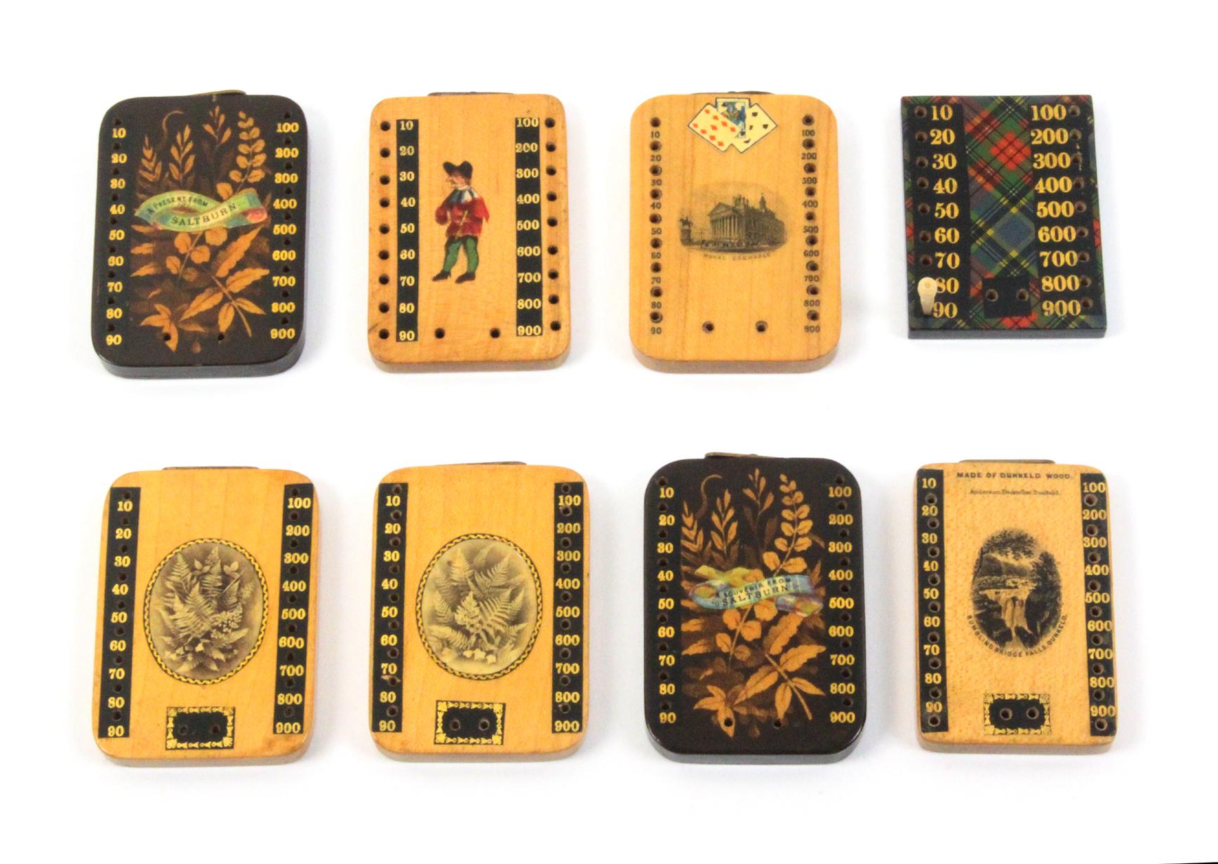 Mauchline ware - eight Bezique markers comprising a pair in dark ground Fern ware (A Present/