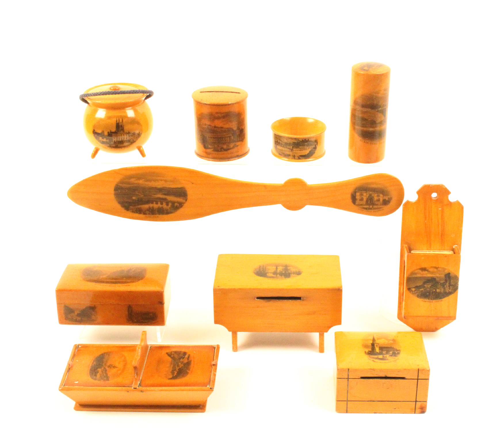 Mauchline ware - ten pieces comprising a bakers table money box (Grimsby Docks), 11cm, a lidded