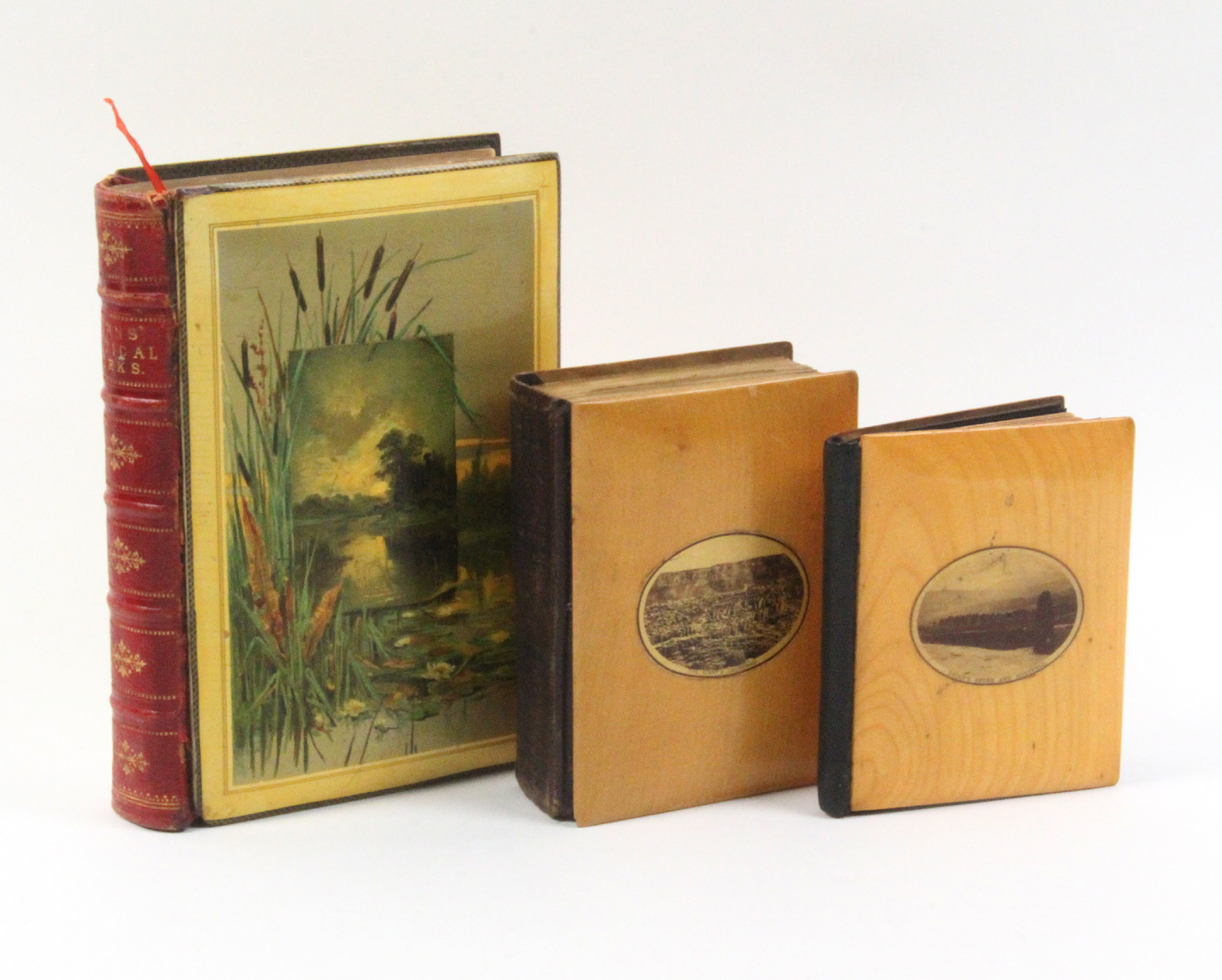 Mauchline ware - three books - comprising Burns Poetical Works (large colour print river