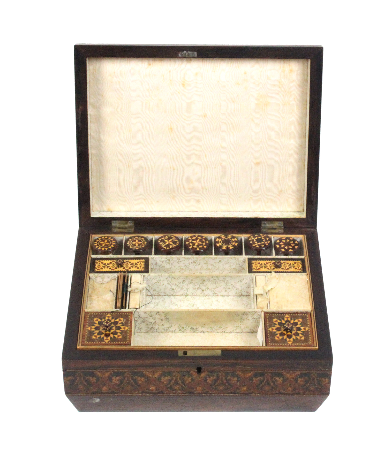 A Tunbridge ware rosewood sewing box of sarcophagal form, the lid with a view of Eridge Castle - Image 2 of 2