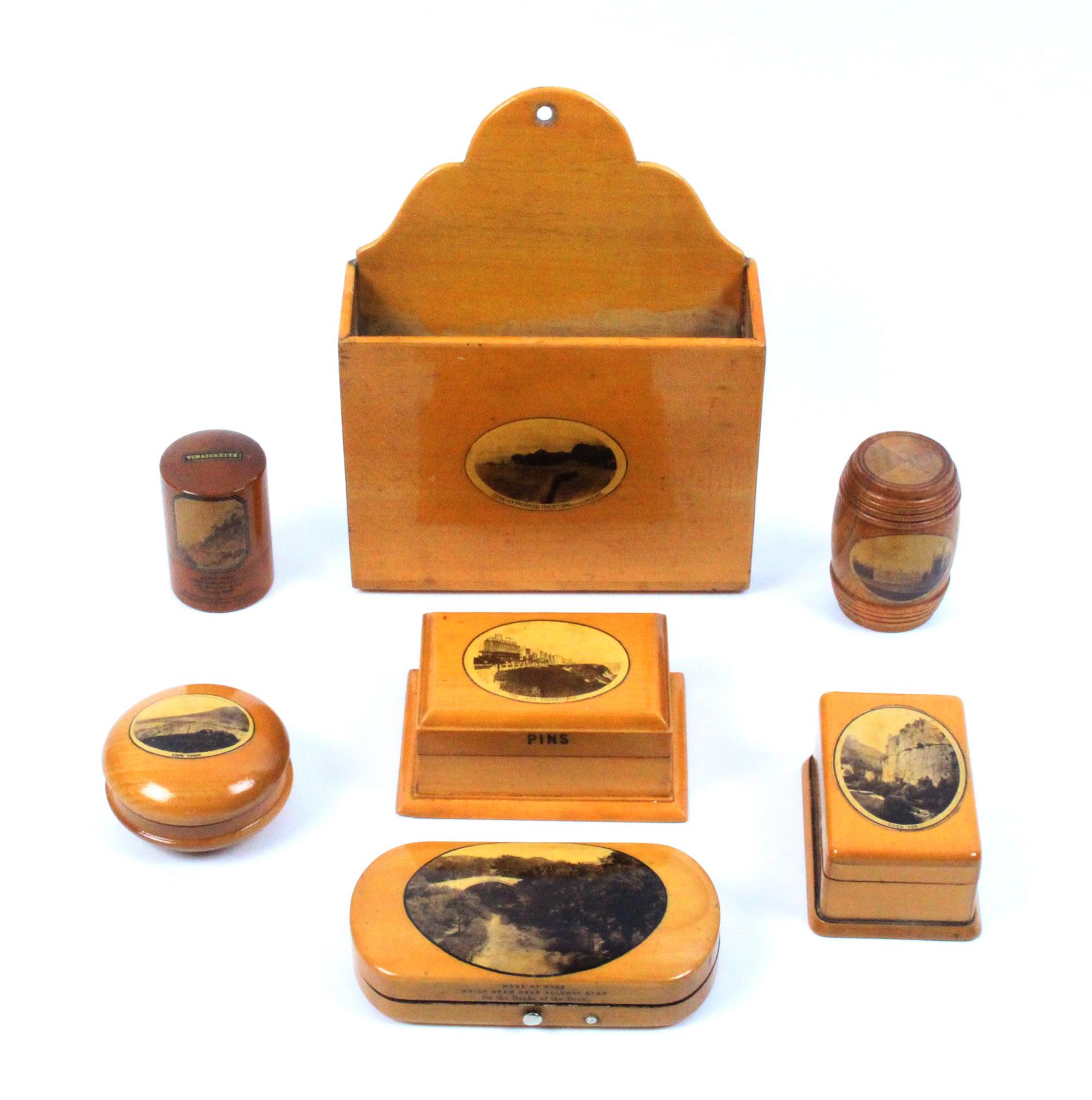 Mauchline ware - seven pieces - all photographic comprising a barrel in alternate segments (Clare