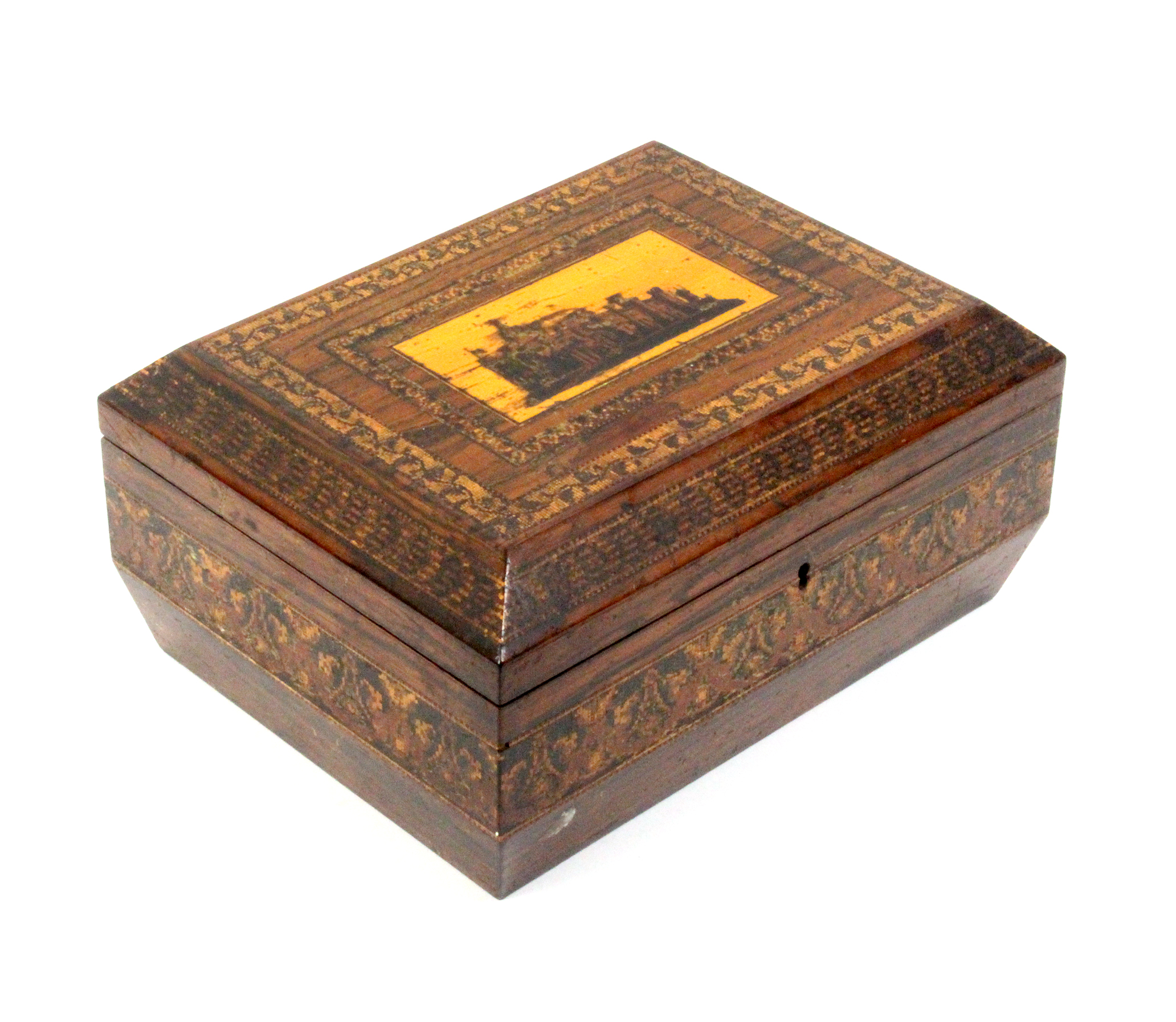 A Tunbridge ware rosewood sewing box of sarcophagal form, the lid with a view of Eridge Castle