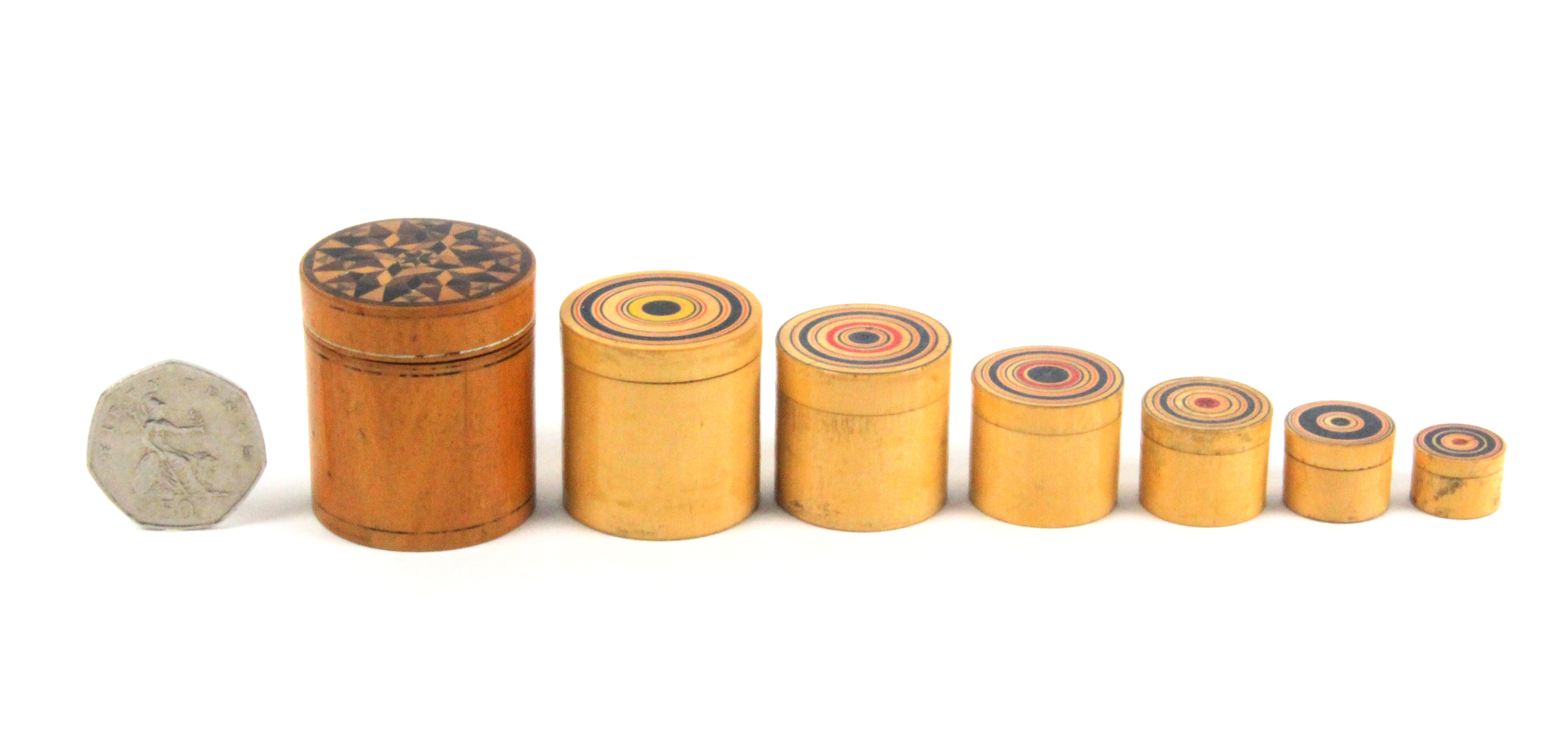 A set of seven Tunbridge ware turned whitewood stacking and graduated cylinder boxes, the - Image 2 of 3