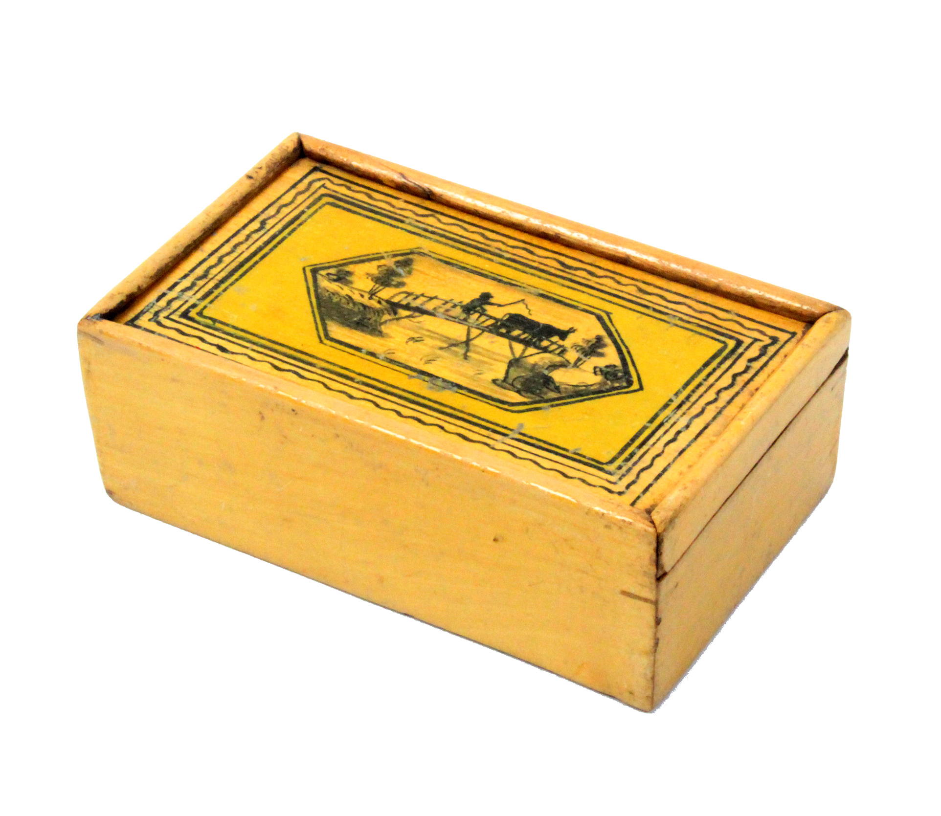 A white wood Tunbridge ware box of rectangular form, the sliding lid with a panel of a cow being