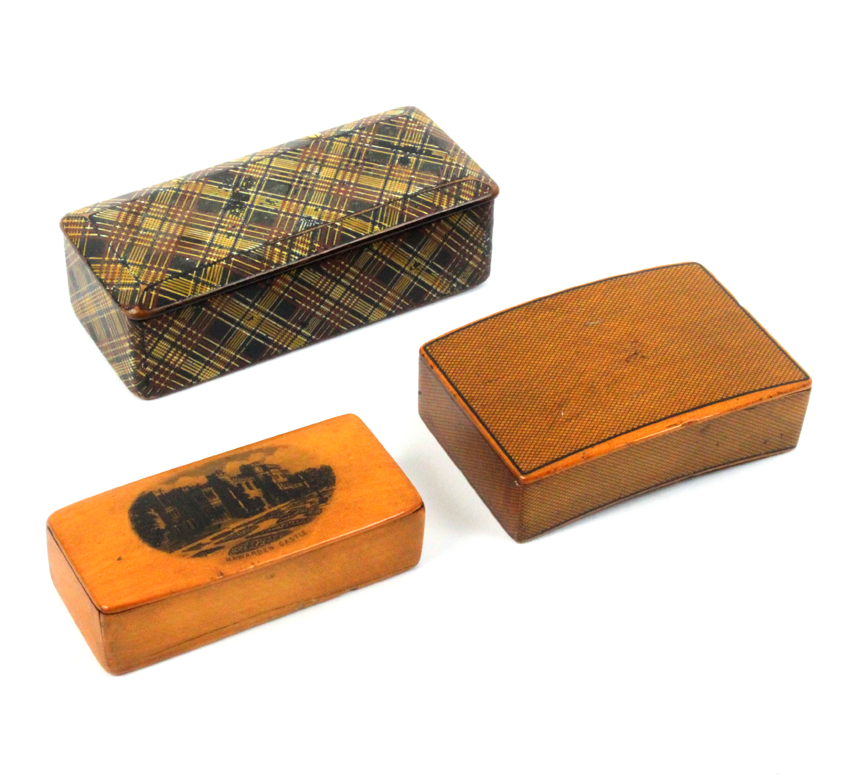 Mauchline ware - three snuff boxes - comprising a curved example in cross hatched pen work, full