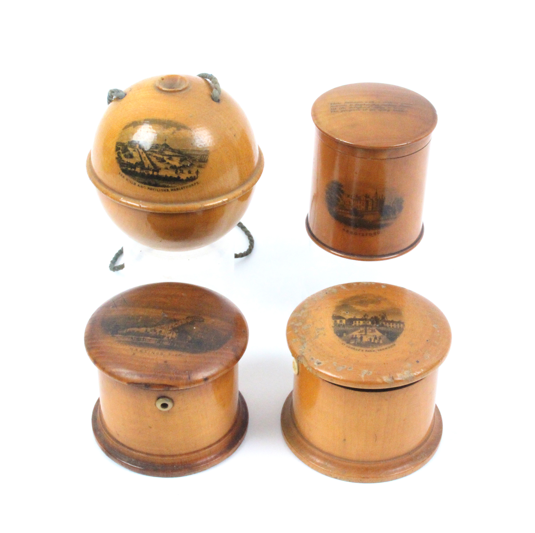 Mauchline ware - sewing - four pieces comprising a wool ball (Sea Hills And Pavilions, Mablethorpe),