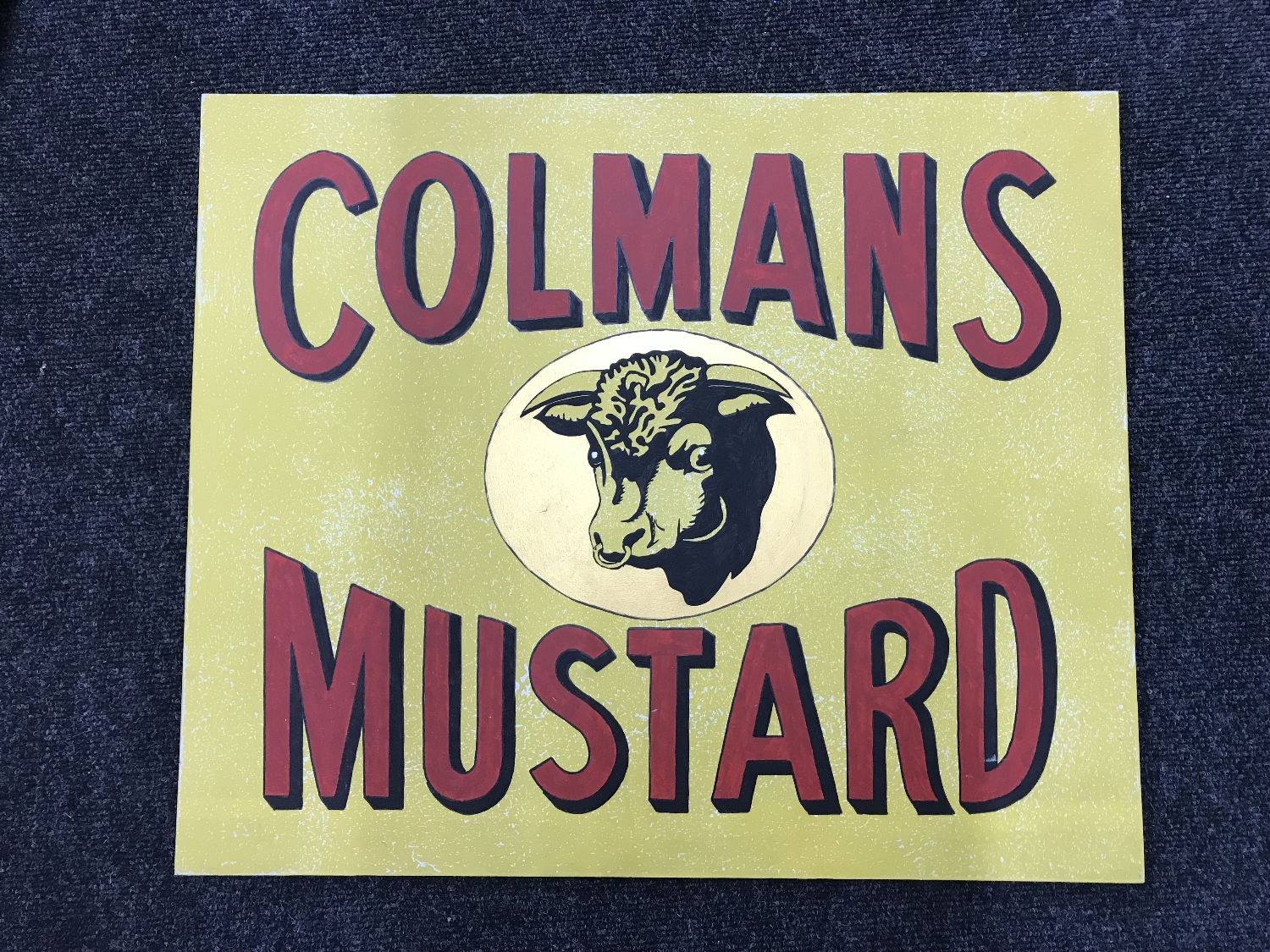"""Lot 51 - A hand painted """"Colmans Mustard"""" advertisement on board"""