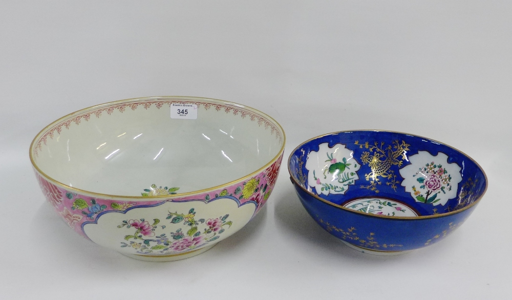 Lot 345 - Two Chinese porcelain bowls to include a large Famille Rose punch bowl on a gilt lined footrim, 30cm
