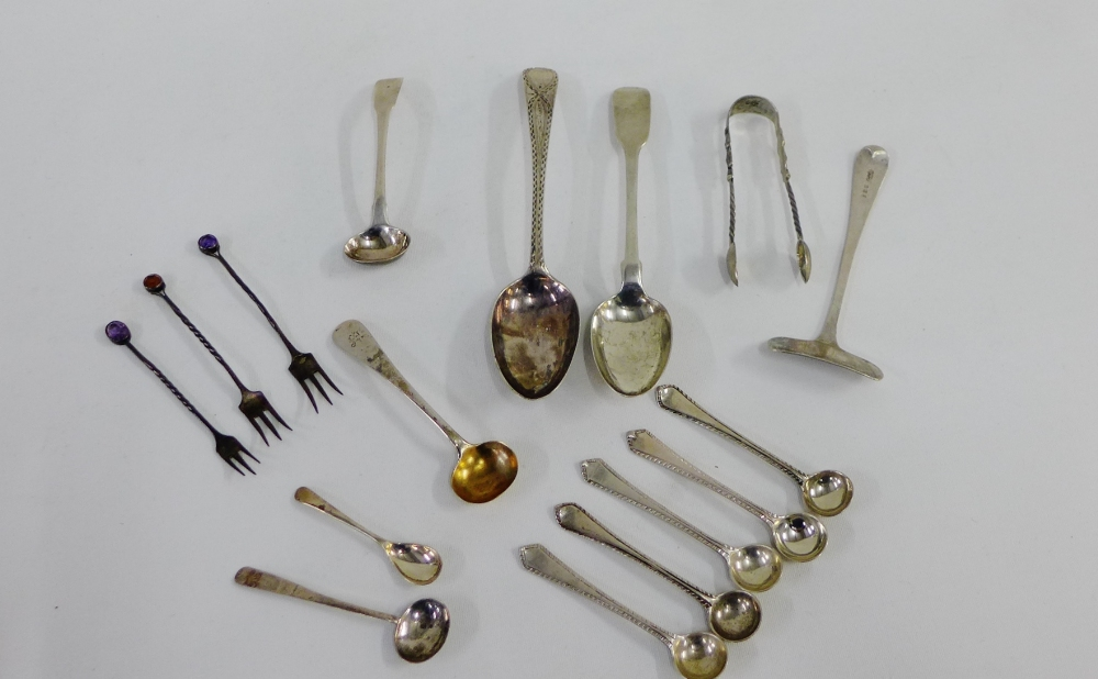 Lot 57 - A collection of various 19th century and later silver spoons, pickle forks and condiment spoons, etc