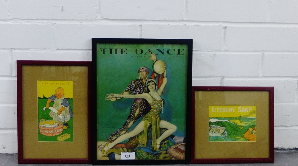 Lot 181 - Two coloured advertising prints to include 'Lifebuoy Soap' and 'Sunlight Soap' together with 'The