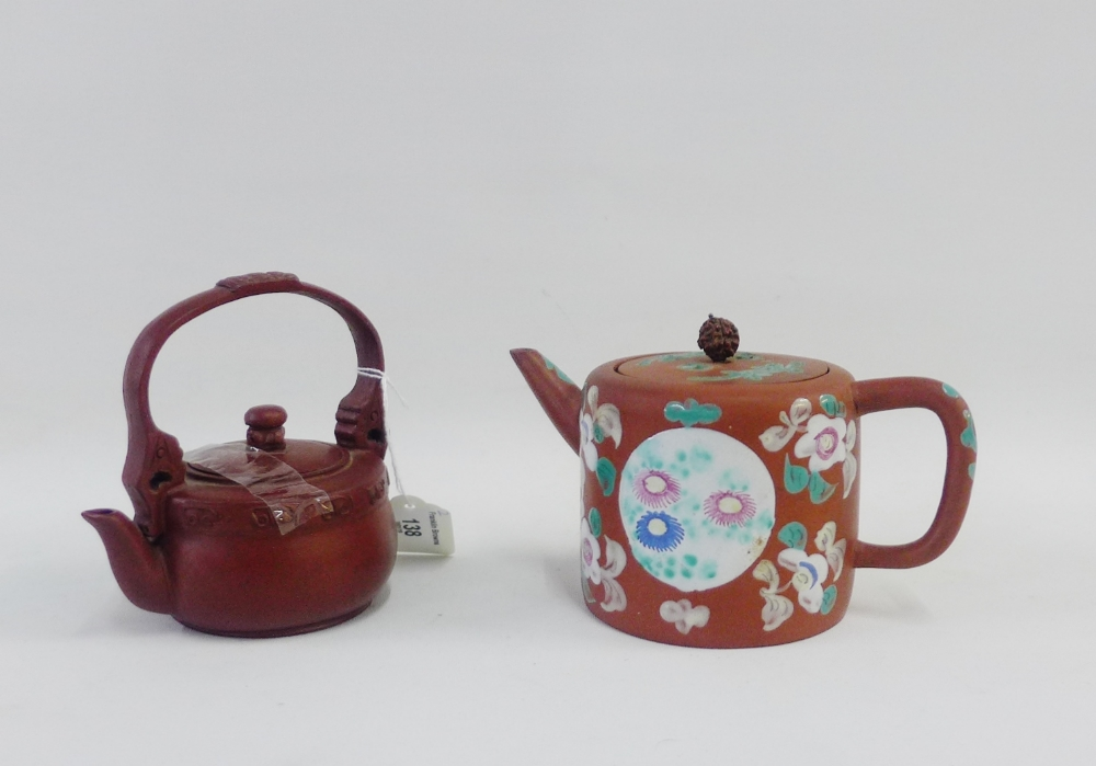 Lot 138 - Yixing tea kettle with over handle, together with another with enamelled decoration and a