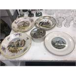 A pair of faience ware plates etc