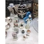 A quantity of assorted pottery including Bargware tea pot (A/F) 19th Staff pottery