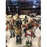 A collection of ten porcelain soldiers, capodimonte, Dresden,