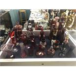 A quantity of ruby overlay glass etc