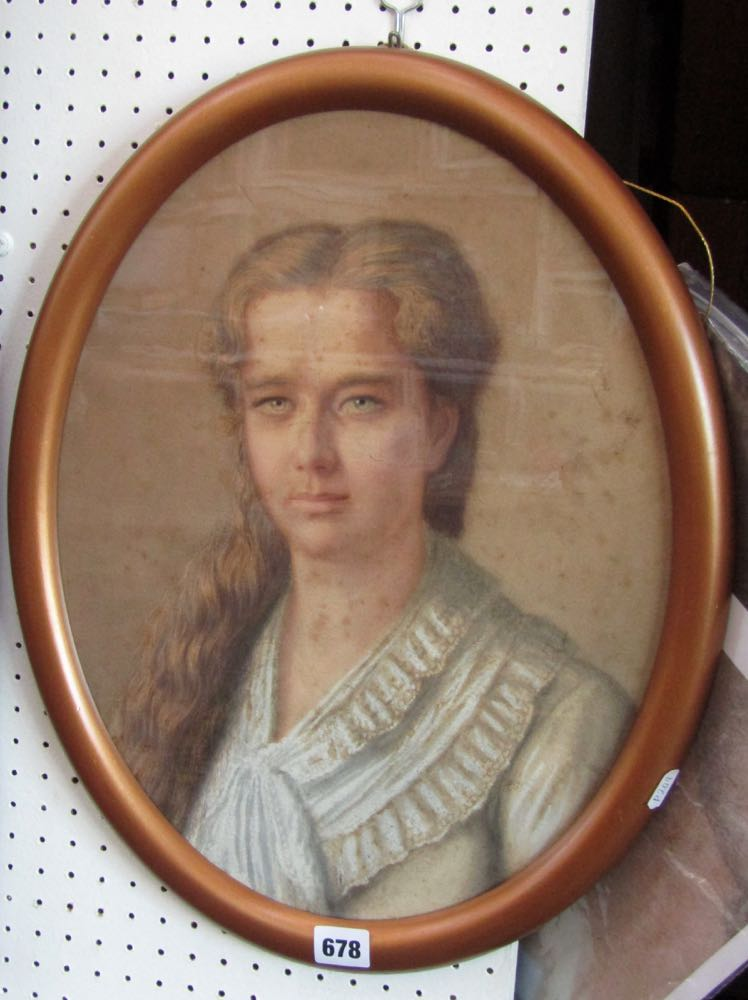 Lot 678 - A 19th century watercolour and body colour portrait of oval form - bust length study of a young girl