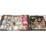 A collection of mainly 19th century miniature dolls tea wares including floral printed examples,