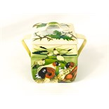 An unusual Moorcroft two handled box and cover of four sided form designed by Philip Gibson in the