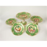 An extensive 19th century dessert service by Ridgway with painted central panel of fruit