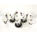 A six place Royal Albert Masquerade pattern tea set including milk jug, sugar bowl, cake plate,