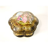 A 19th century French box and hinged cover of shaped circular form in the Sevres manner with painted