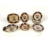 An early 19th century dessert service by Grainger, Lee & Co with painted and gilded floral