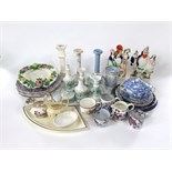 A collection of mainly 19th century ceramics including a Staffordshire spill vase with applied