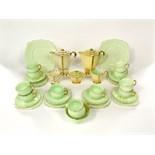 A collection of Royal Albert tea wares with green glazed finish comprising milk jug, sugar bowl,