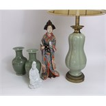 A large lamp base with celadon type glaze and brass fittings including double bulb aperture, with