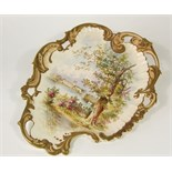 A late 19th century S Fielding & Co presentation plaque of shaped scrolling and pierced form with