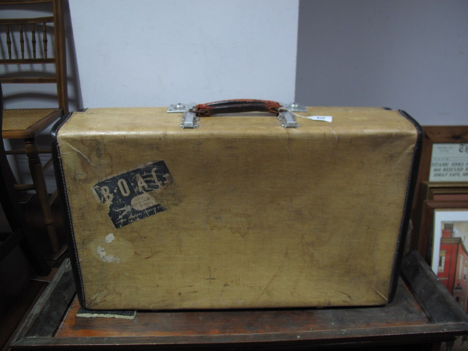 A Mid XX Century Vintage Revelation Hessian Expanding Suitcase ...