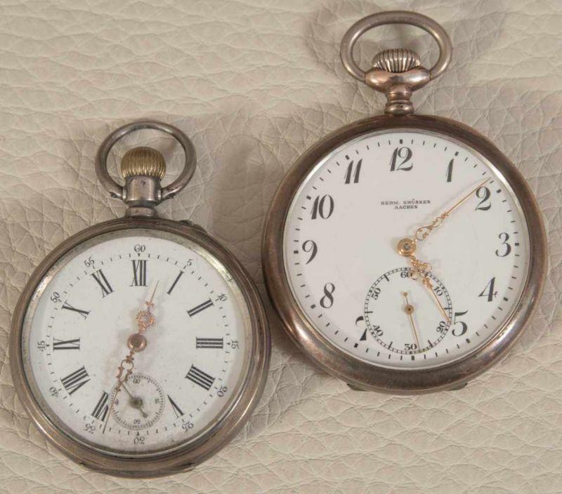 """2 alte/antike Taschenuhren, Silber, 1 x bez.: """"Hermann Krüsken - Aachen."""" Werke nicht auf"""