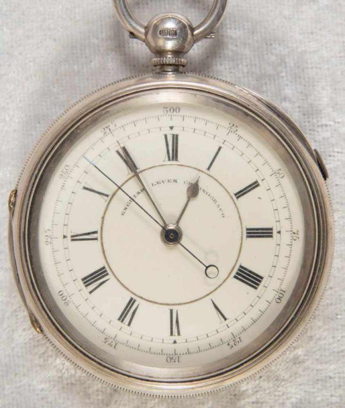 """""""English Lever Chronograph"""", Gehäuse in 925er Sterlingsilber, Werk & Gehäuse nummerngleich (No."""