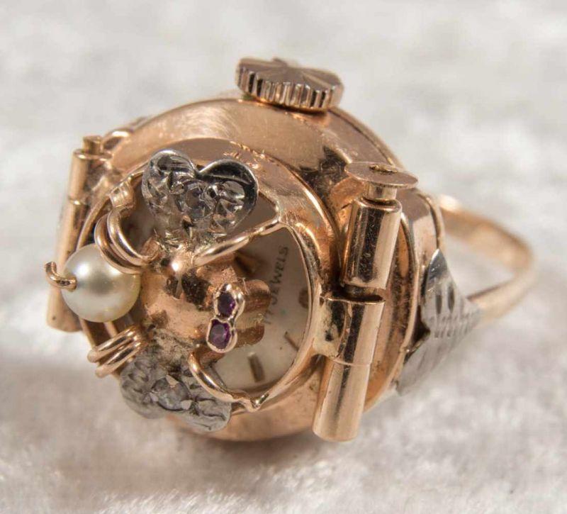 """Ringuhr, 750er Gelbgold, Ziffernblatt bez. """"ANY"""" - 17 Jewels, Handaufzug, Werk läuft an, nicht auf - Image 2 of 7"""