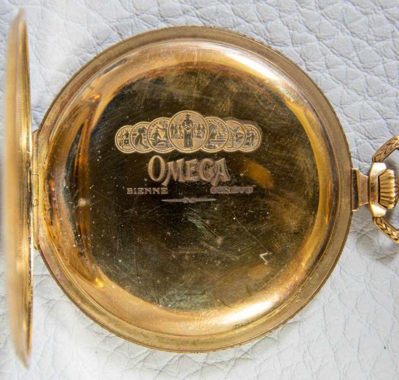 OMEGA Sprungdeckeltaschenuhr, 585er/14K Gelbgoldgehäuse & Uhrenkette. Brutto ca. 79 gr. Werk läuft - Image 4 of 9