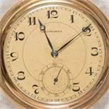 LONGINES, vergoldete Savonette-Taschenuhr, ungeprüft. Durchmesser ca. 5,2 cm.