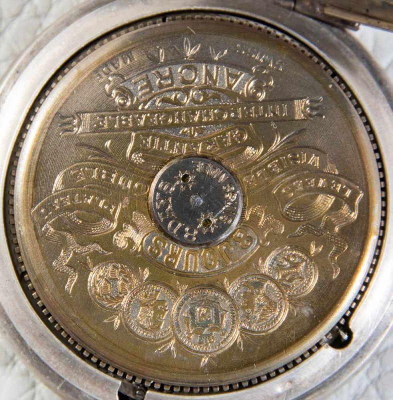 """""""HEBDOMAS - 8 JOURS"""" - SAVONETTE Herrentaschenuhr in 800er Silber, Porzellanziffernblatt mit arab. - Image 2 of 7"""